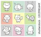 coloring page with cute animals ... | Shutterstock .eps vector #1315981649