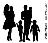 silhouette with children family ... | Shutterstock .eps vector #1315982630