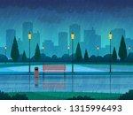 rainy day park. raining public... | Shutterstock .eps vector #1315996493