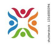 colorful teamwork logo | Shutterstock .eps vector #1316000396