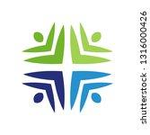 colorful teamwork logo | Shutterstock .eps vector #1316000426