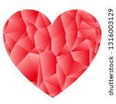 red geometric heart background | Shutterstock .eps vector #1316003129