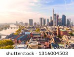 Frankfurt am Main, Germany - November, 2018: Panoramic view cityscape skyline of business district with skyscrapers during sunrise, Frankfurt am Main. Hessen, Germany. - stock photo