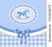 baby shower for boy with horse  ... | Shutterstock .eps vector #131603873