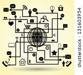 map of social media elements....   Shutterstock . vector #131603954