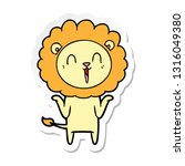 sticker of a laughing lion... | Shutterstock .eps vector #1316049380