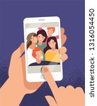 hands holding mobile phone with ... | Shutterstock .eps vector #1316054450