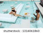 teenage children relaxing while ... | Shutterstock . vector #1316061863