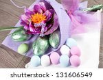 colorful easter eggs with... | Shutterstock . vector #131606549