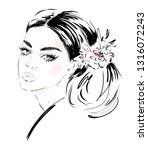 hand drawn beautiful young... | Shutterstock .eps vector #1316072243