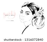 hand drawn beautiful young... | Shutterstock .eps vector #1316072840