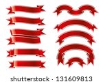 red ribbon set | Shutterstock . vector #131609813