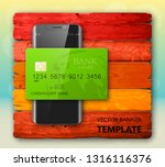 smartphone   credit card banner.... | Shutterstock .eps vector #1316116376