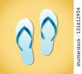 pair of beach sandals ... | Shutterstock .eps vector #131612954
