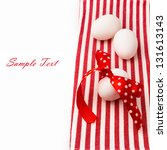 white eggs with polka dots... | Shutterstock . vector #131613143