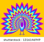 peacock with  olorful shining... | Shutterstock .eps vector #1316146949
