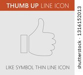 thumb up vector icon. like... | Shutterstock .eps vector #1316152013