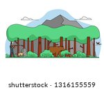 hunter with a dog in the forest ...   Shutterstock .eps vector #1316155559