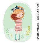 spring girl illustration for... | Shutterstock .eps vector #1316156726