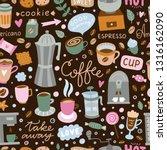 coffee theme seamless vector... | Shutterstock .eps vector #1316162090