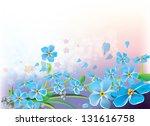 bouquet of blue spring flowers... | Shutterstock .eps vector #131616758