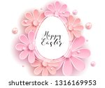 happy easter flower pink... | Shutterstock .eps vector #1316169953