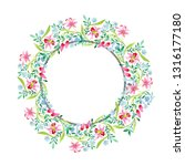 ornament pink and blue floral... | Shutterstock . vector #1316177180