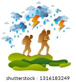 hikers father and teenager son... | Shutterstock .eps vector #1316183249
