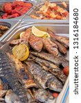 grilled fish and vegetables for ... | Shutterstock . vector #1316184680