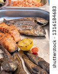 grilled fish with lemon for... | Shutterstock . vector #1316184683