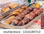 portion of kebab pork and... | Shutterstock . vector #1316184713