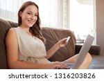 portrait of beautiful woman on... | Shutterstock . vector #1316203826