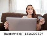 portrait of beautiful woman on... | Shutterstock . vector #1316203829