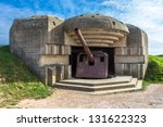 Gun emplacement at Omaha Beach in France.