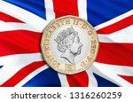 2 uk pound coin. financial... | Shutterstock . vector #1316260259