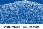 wire frame city  blueprint... | Shutterstock .eps vector #1316265086