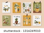hello spring posters in vector. ... | Shutterstock .eps vector #1316269010