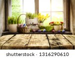 desk of free space and easter... | Shutterstock . vector #1316290610