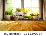 desk of free space and easter... | Shutterstock . vector #1316290739