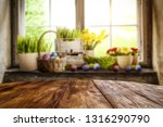 desk of free space and easter... | Shutterstock . vector #1316290790