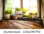 desk of free space and easter... | Shutterstock . vector #1316290793