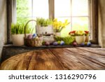 desk of free space and easter... | Shutterstock . vector #1316290796