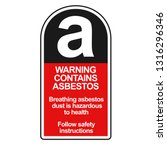 asbestos warning sticker.... | Shutterstock .eps vector #1316296346