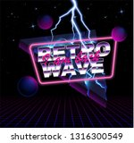 retro wave background place for ... | Shutterstock .eps vector #1316300549