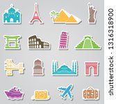 landmarks stickers on grey... | Shutterstock .eps vector #1316318900