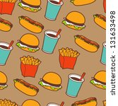 fast food seamless pattern in... | Shutterstock .eps vector #131633498