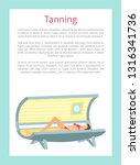 tanning poster with woman lying ... | Shutterstock .eps vector #1316341736