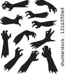 scary zombie hands silhouettes. | Shutterstock .eps vector #131635064