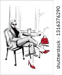 fashion woman sitting in cafe... | Shutterstock .eps vector #1316376290