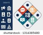debate icon set. 13 filled... | Shutterstock .eps vector #1316385680